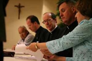 3 bishops, 2 laity